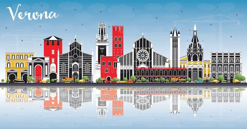 Verona Italy City Skyline med färgbyggnader, blå himmel och reflexioner stock illustrationer