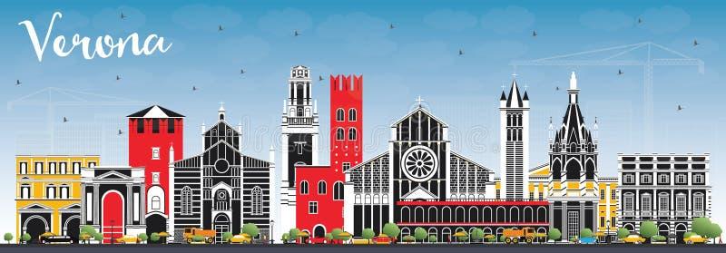 Verona Italy City Skyline med färgbyggnader och blå himmel vektor illustrationer