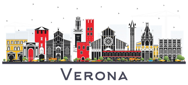Verona Italy City Skyline met Kleurengebouwen op Wit wordt geïsoleerd dat stock illustratie
