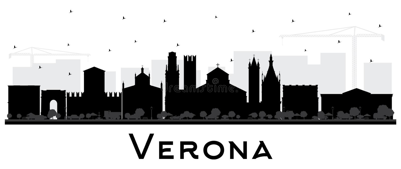 Verona Italy City Skyline Silhouette with Black Buildings Isolated on White. Vector Illustration. Business Travel and Tourism Concept with Historic royalty free illustration