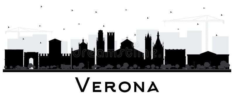 Verona Italy City Skyline Silhouette met Zwarte die Gebouwen op Wit wordt geïsoleerd royalty-vrije illustratie