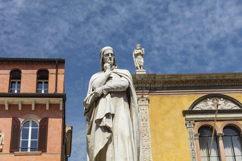 Verona, Italy, Europe, August 2019, Statue of Dante in Piazza dei Signori stock image