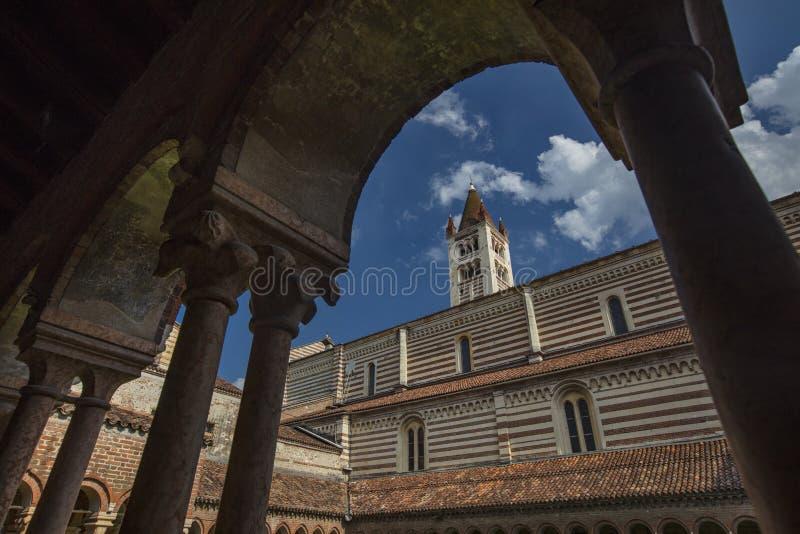 Verona, Italy, Europe, August 2019, A view of Basilica di San Zeno Maggiore stock photography