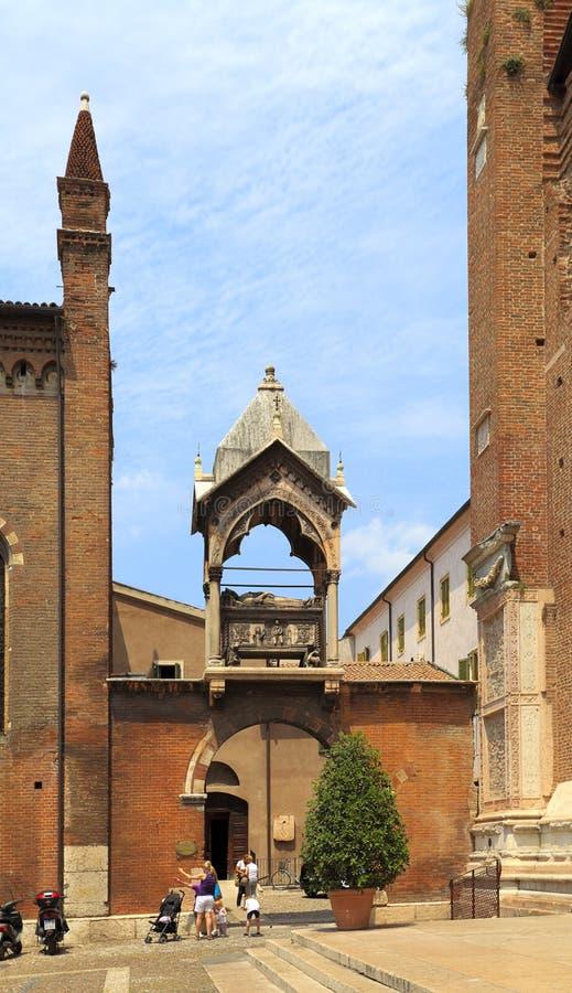 Verona, Italy - historic city center - external view of St. Anastasia church - gothic basilica at St. Anastasia square. Verona, Veneto / Italy - 2012/07/06 stock image