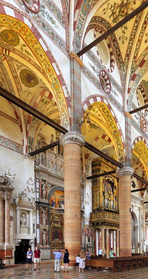 Verona, Italy - historic city center - interior of St. Anastasia church - gothic basilica at St. Anastasia square. Verona, Veneto / Italy - 2012/07/06: Verona royalty free stock photo