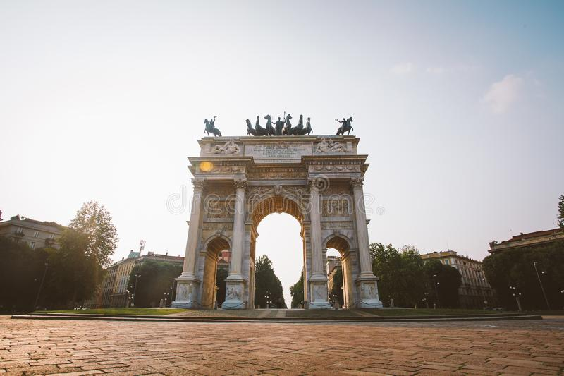 Verona, Italy July 13 2013: Arch of Peace in Sempione Park, Milan, Lombardy, Italy. Arco della Pace aka Porta Sempione in Milan, I stock images