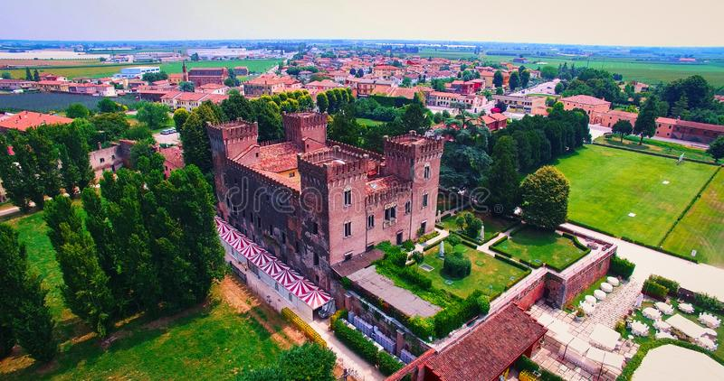 Beautiful old italian castle hosting wedding in the countryside. stock image