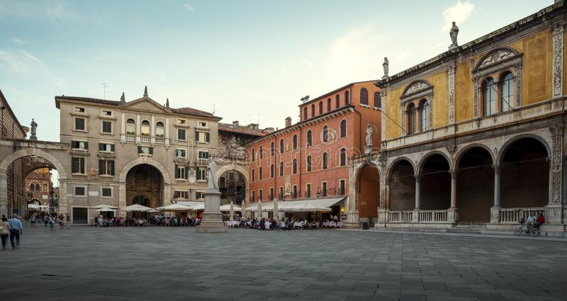 Panorama of town square in Verona city, Italy stock image