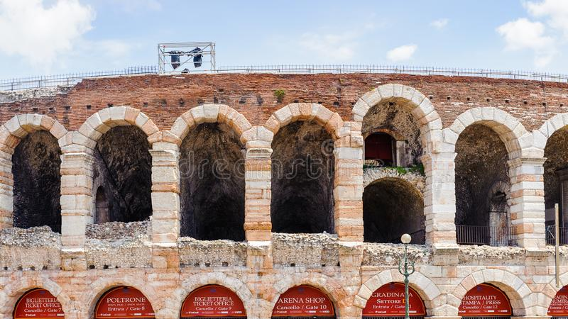 Old Verona, Italy, UNESCO World Heritage. VERONA, ITALY - JUN 26, 2014: Verona Arena (Arena di Verona), a Roman amphitheatre in Piazza Bra in Verona, Italy. It stock photo