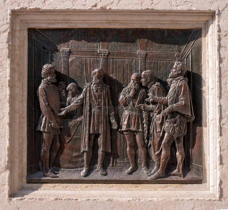 Verona, Italy - 06 May 2018: Bas-relief on the monument to the architect Michele Sanmiceli. In Verona, according to the royalty free stock image