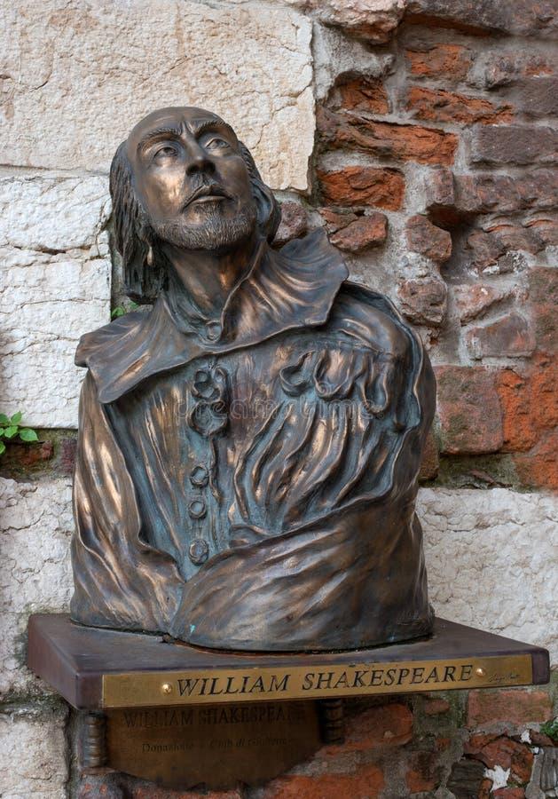 Verona, Italy - 06 May 2018: Bust of William Shakespeare in Verona. A bronze bust of William Shakespeare is located near stock photography