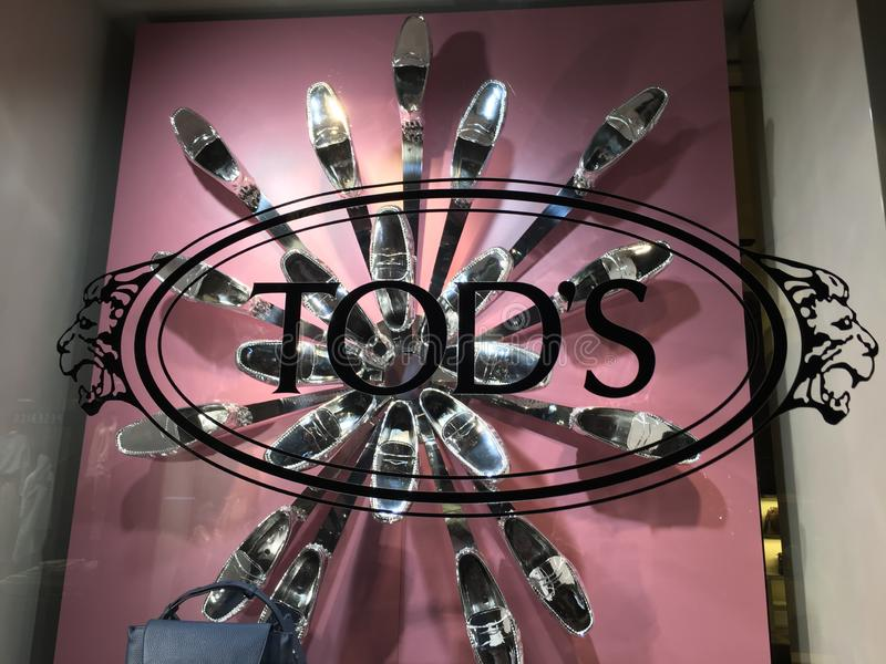 Tod`s shoe store stock photography