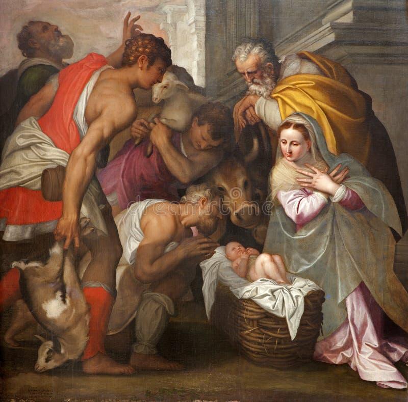 Verona - julkrubba i den San Bernardino kyrkan royaltyfri bild