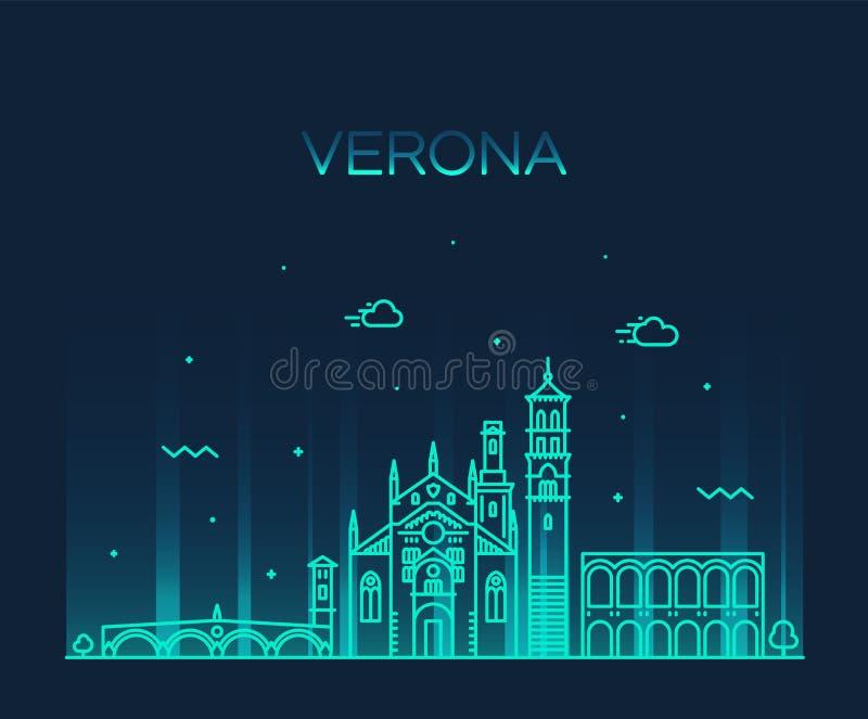 Verona linii horyzontu Włochy wektorowy liniowy stylowy miasto royalty ilustracja