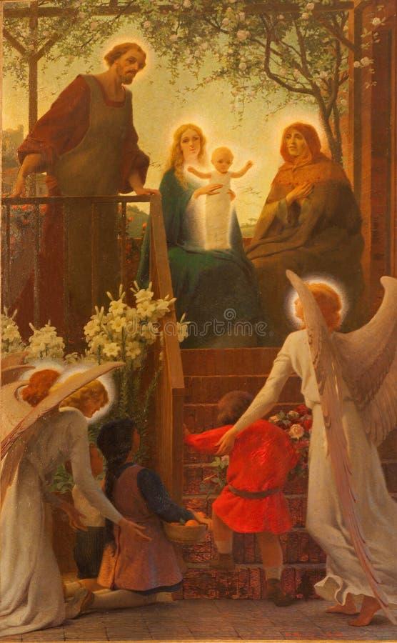 Verona - målarfärg av den heliga familjen med den heliga Annen från Duomo royaltyfria bilder