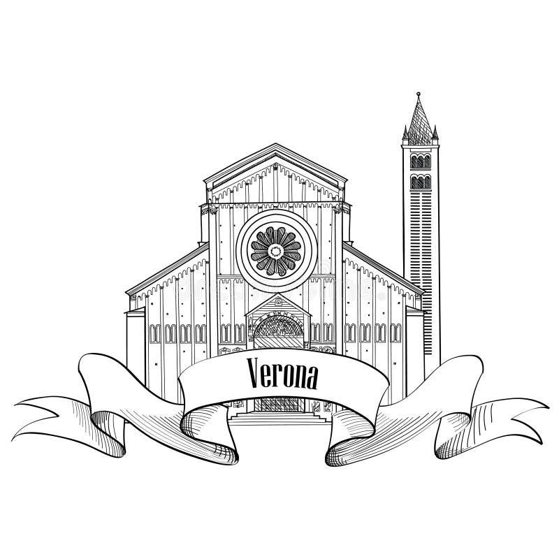 Verona miasta etykietka Podróży Włochy ikona Sławny włoski buduje sk royalty ilustracja