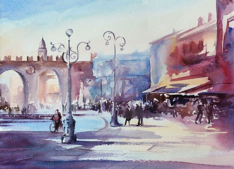 Verona miasta głównego placu akwareli obraz ilustracja wektor