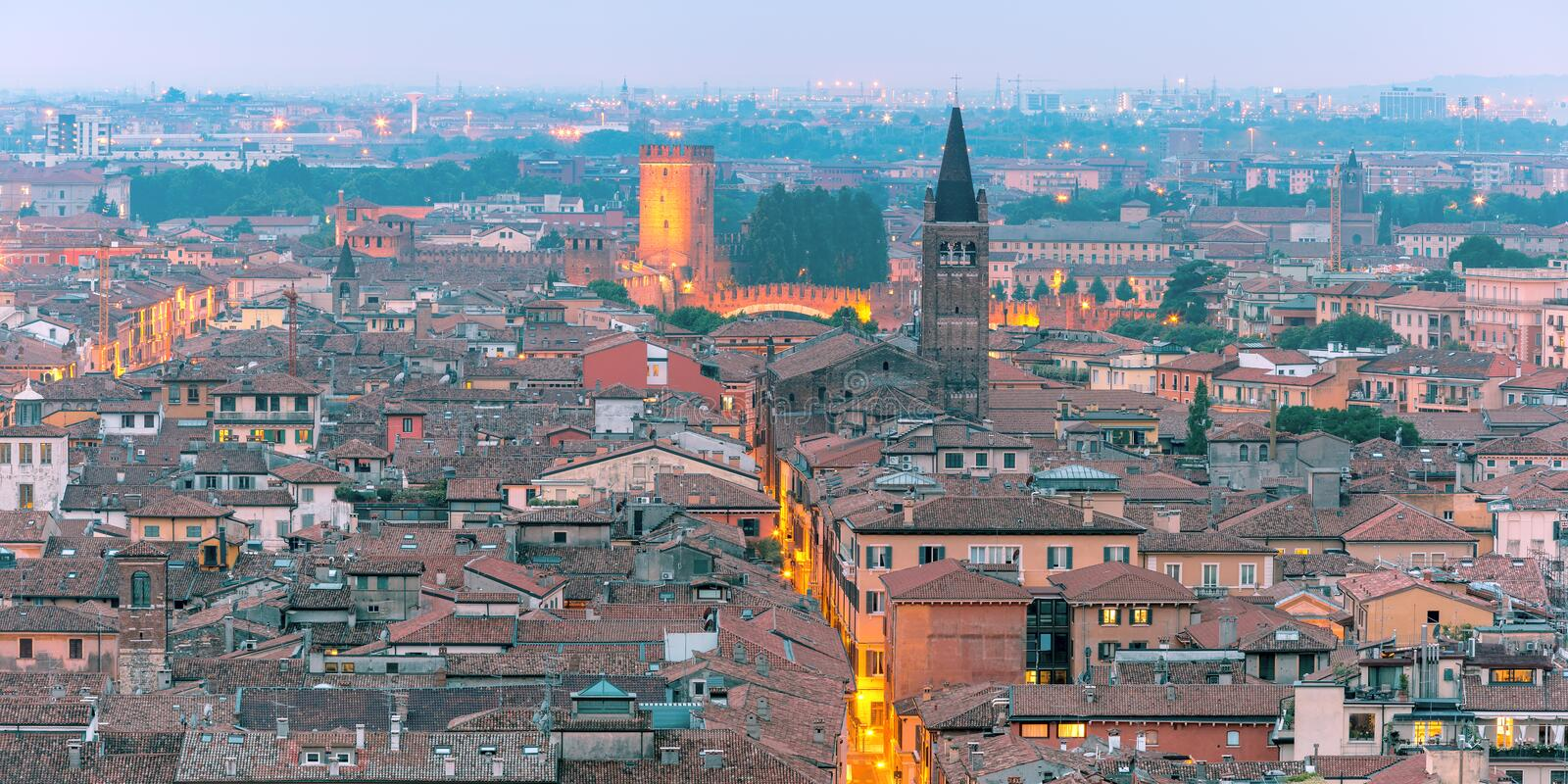 Verona skyline at night, Italy royalty free stock photos