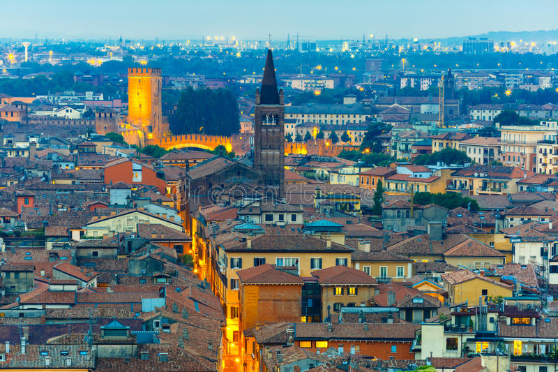 Verona skyline at night, Italy royalty free stock photography