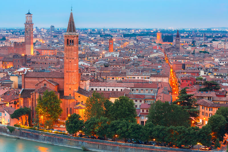 Verona skyline at night, Italy stock photos