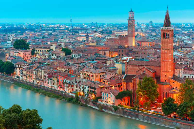 Verona skyline at night, Italy stock photo