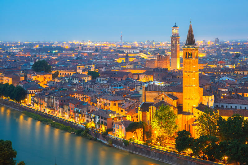 Verona skyline at night, Italy stock images