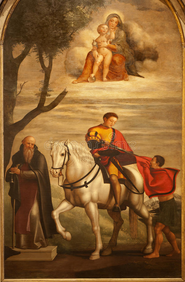 Verona - St George målarfärg från sidoaltaret i helgonAnastasias kyrka arkivbild