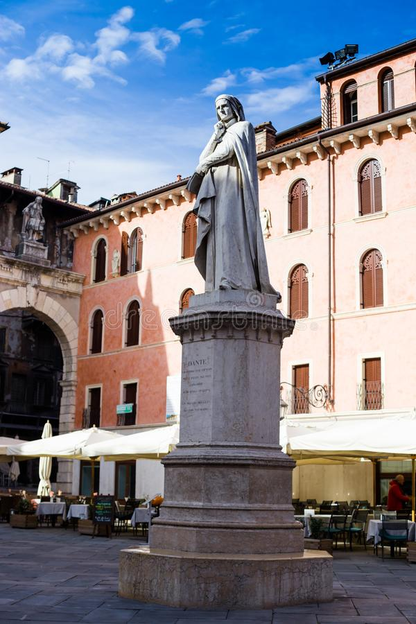 Verona statue of italian poet Dante Alighieri in Lords Square, Italy royalty free stock image