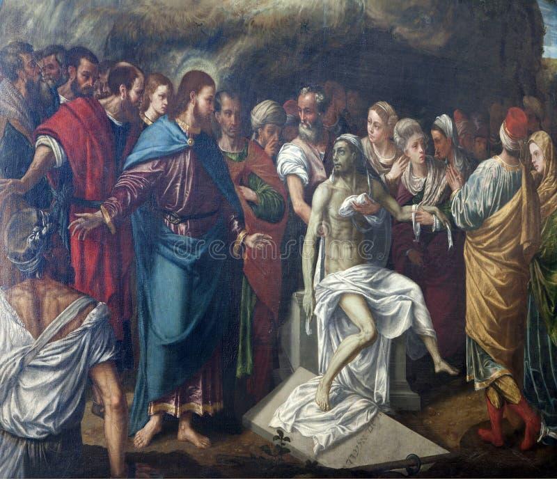 Verona - Verrijzenis van Lazarus in de kerk van San Bernardino stock afbeeldingen