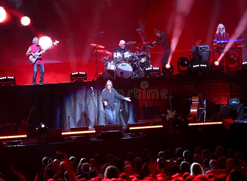 Verona, VR, Itália - 23 de setembro de 2018: VENDITTI um cantor-compositor italiano em Verona Arena foto de stock royalty free