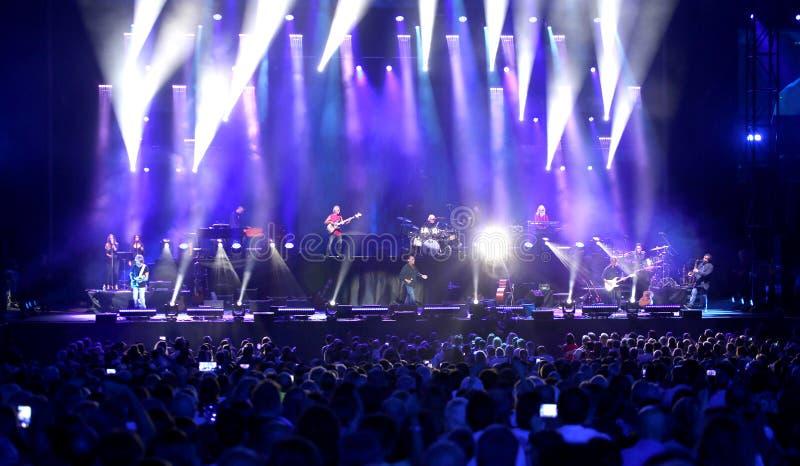 Verona, VR, Italy - September 23, 2018: ANTONELLO VENDITTI an Italian singer-songwrite. Verona, VR, Italy - September 23, 2018: Live Concert at Verona Arena of stock photo