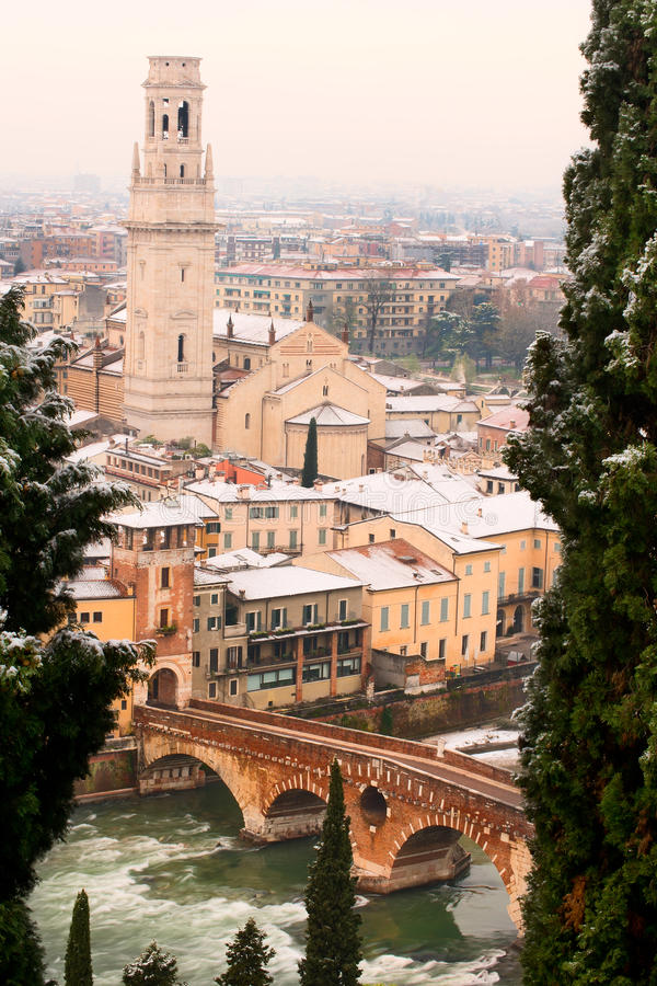 Download Verona During Winter - Italy Stock Image - Image: 28159405