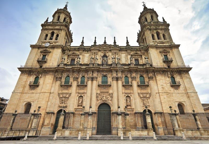 Veronderstelling van de Maagdelijke Kathedraal (Santa Iglesia Catedral - Museo Catedralicio), de Provincie van Jaen, Jaen, Andaluc royalty-vrije stock fotografie