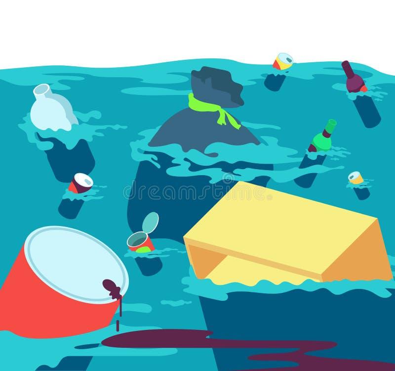 Verontreinigd water Vissen vuile rivier met afval en plastiek Zoetwaterverontreinigings vectorconcept royalty-vrije illustratie