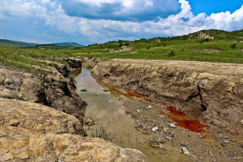 Verontreinigde rivier in Buzau, Roemenië stock foto's