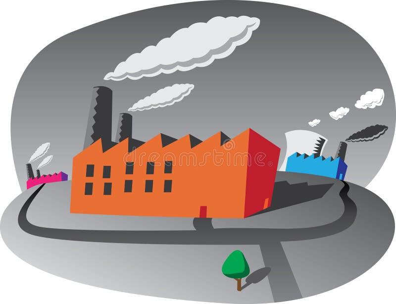Verontreinigende Fabrieken stock illustratie