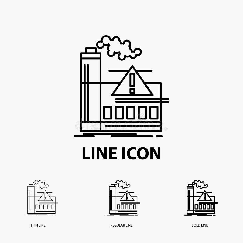 verontreiniging, Fabriek, Lucht, Alarm, de industriepictogram in Dunne, Regelmatige en Gewaagde Lijnstijl Vector illustratie royalty-vrije illustratie