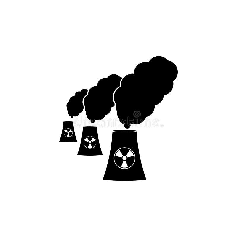 verontreiniging van een pictogram van de kernenergieinstallatie Gedetailleerd pictogram van het pictogram van ecologietekens Het  stock illustratie