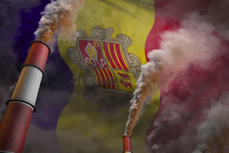 Verontreinigingsstrijd in het concept van Andorra - industriële 3D illustratie van twee grote fabrieksschoorstenen met zware rook stock afbeeldingen