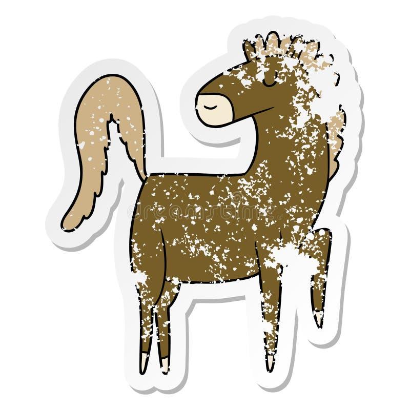 verontruste sticker van een gelukkig beeldverhaalpaard vector illustratie