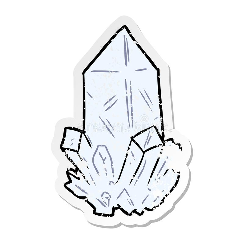 verontruste sticker van een kristal van het beeldverhaalkwarts vector illustratie