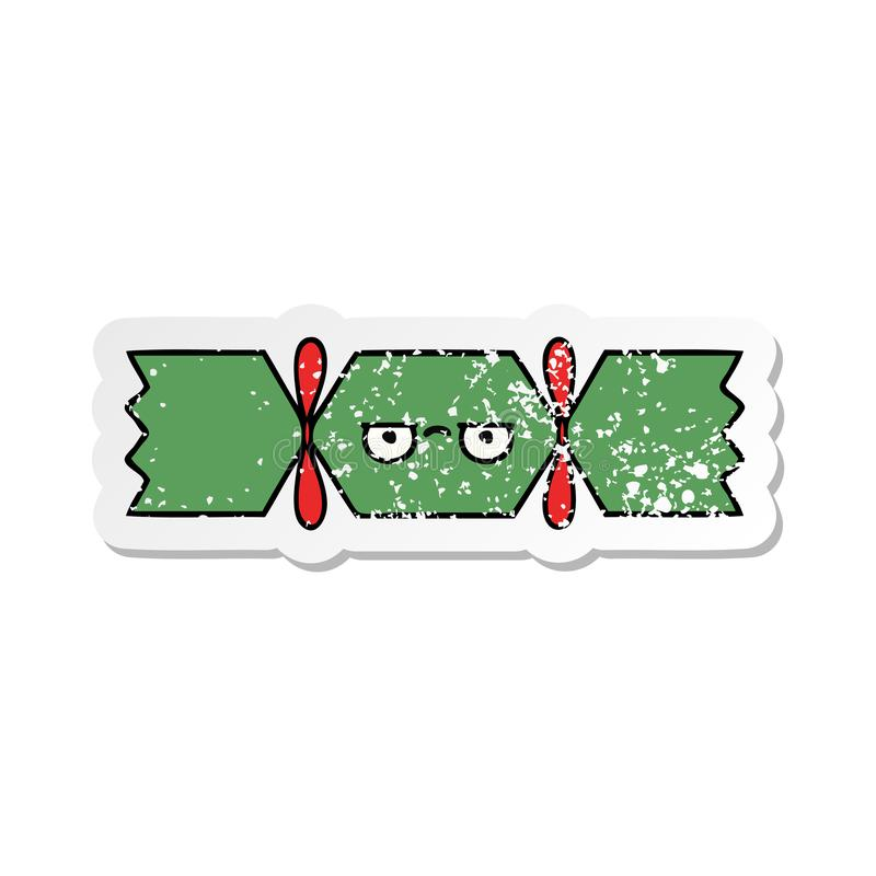 verontruste sticker van een leuke cracker van beeldverhaalkerstmis royalty-vrije illustratie