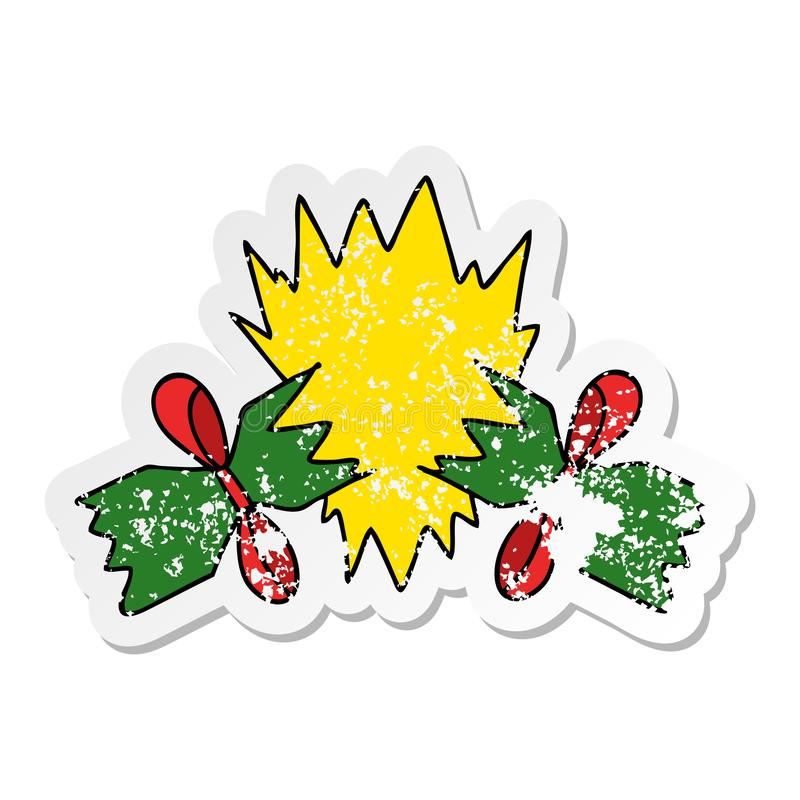 verontruste sticker van een originele hand getrokken beeldverhaal getrokken cracker stock illustratie