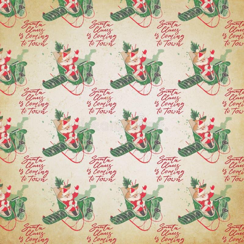 Verontruste Uitstekende Vakantieachtergrond - Santa Collage Digital Paper - Kerstman tijdens de vlucht Document stock illustratie