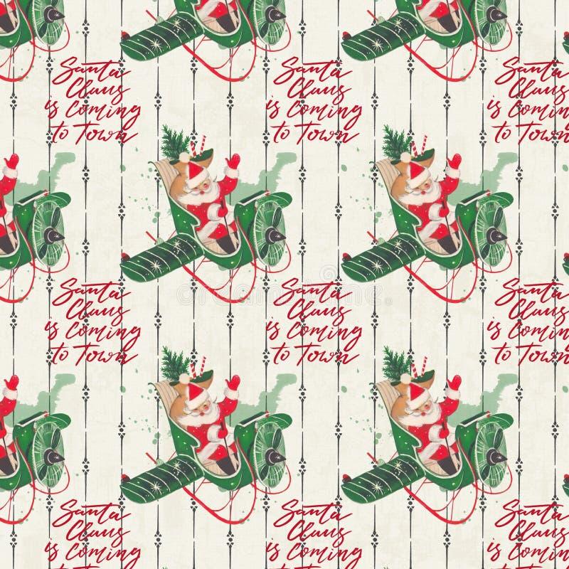 Verontruste Uitstekende Vakantieachtergrond - Santa Collage Digital Paper - Kerstman tijdens de vlucht Document royalty-vrije illustratie