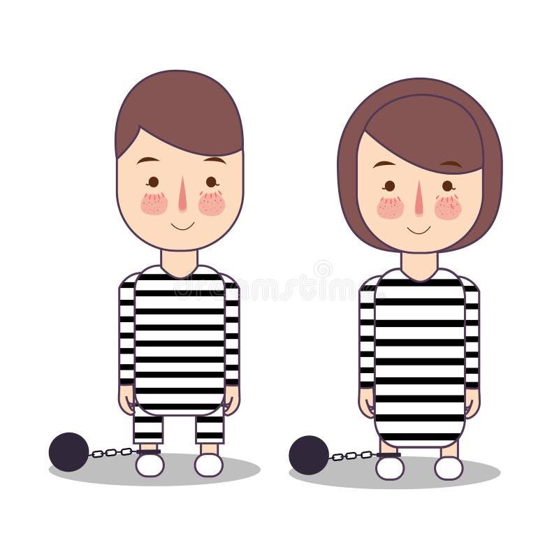 Veroordeel misdadiger in gestreepte die eenvormig op wit wordt geïsoleerd man en vrouwenkarakter in vlakke illustratie vector illustratie