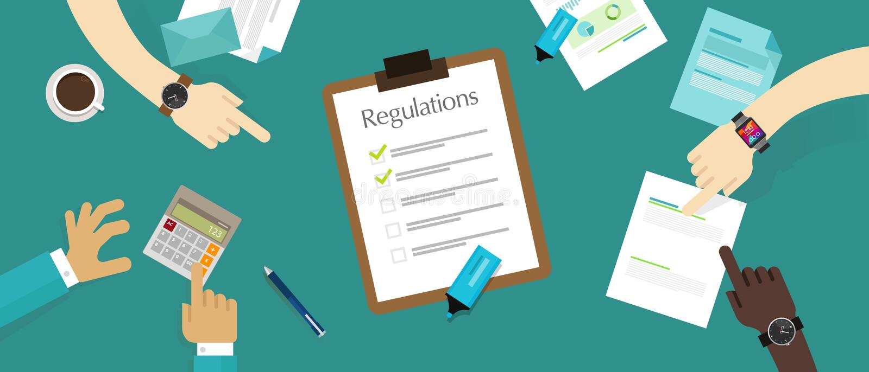 Verordening het documentvereiste van het wets standaardbedrijf stock illustratie