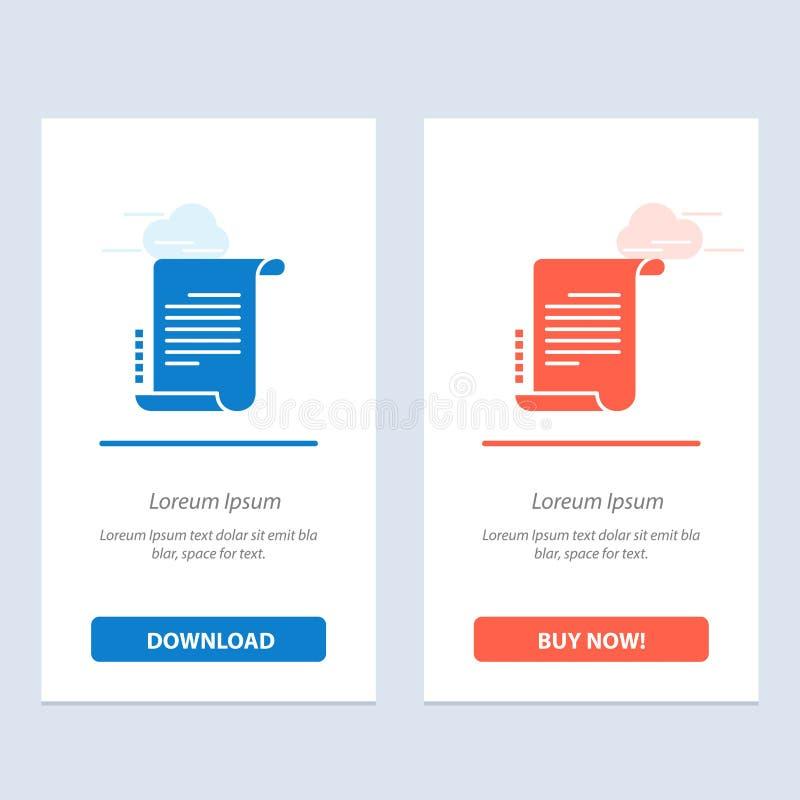 Verordnung, Roman, Szenario, Drehbuch-Blau und rotes Download und Netz Widget-Karten-Schablone jetzt kaufen stock abbildung