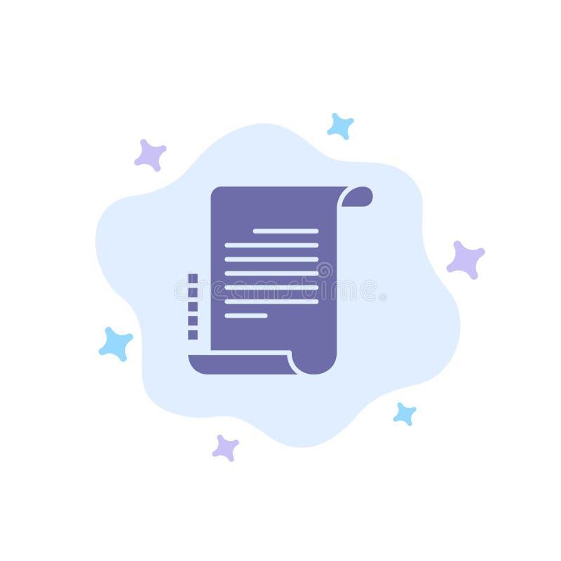 Verordnung, Roman, Szenario, Drehbuch-blaue Ikone auf abstraktem Wolken-Hintergrund lizenzfreie abbildung