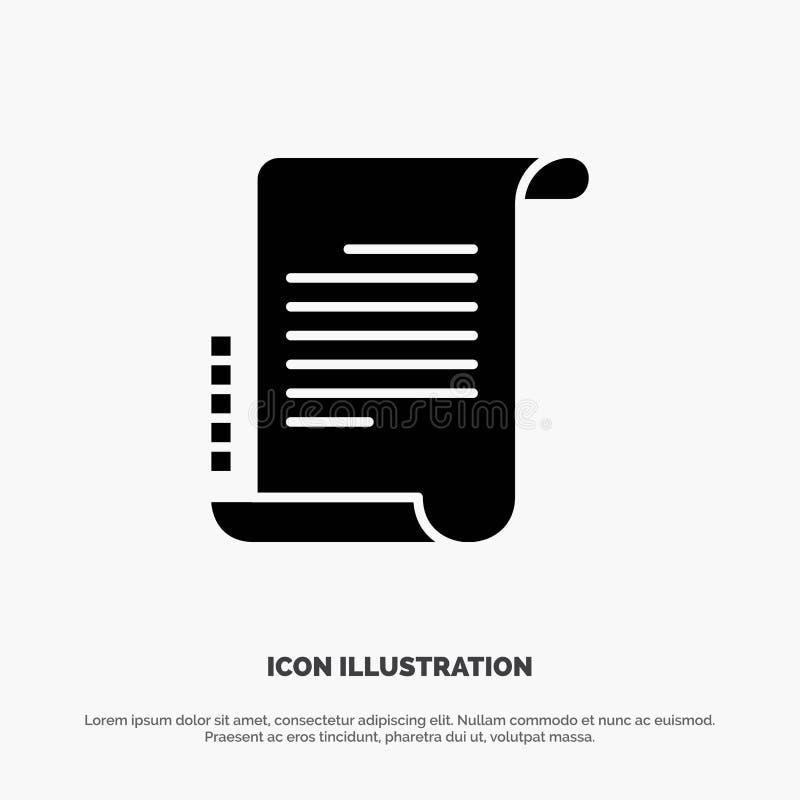Verordnung, Roman, Szenario, Drehbuch fester Glyph-Ikonenvektor lizenzfreie abbildung